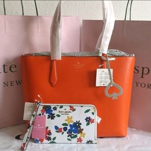 Kate Spade Breanna coral buds tote 2pc